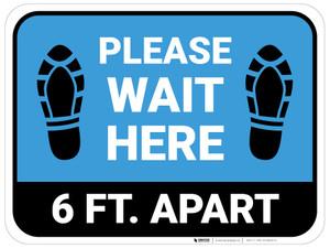 Please Wait Here 6 Ft Apart Shoe Prints Blue Rectangle - Floor Sign