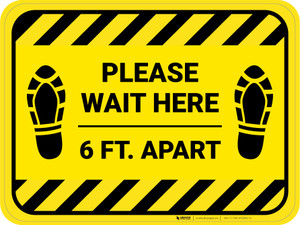 Please Wait Here 6 Ft Apart Shoe Prints Hazard Stripes Rectangle - Floor Sign