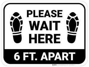 Please Wait Here 6 Ft Apart Shoe Prints Rectangle - Floor Sign