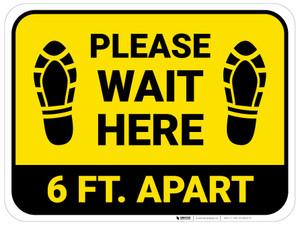 Please Wait Here 6 Ft Apart Shoe Prints Yellow Rectangle - Floor Sign