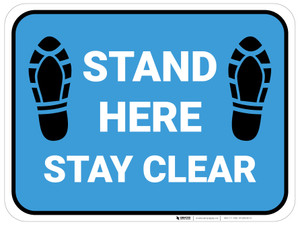 Stand Here Stay Clear Shoe Prints Blue Rectangle - Floor Sign