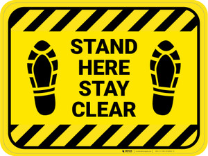 Stand Here Stay Clear Shoe Prints Hazard Stripes Rectangle - Floor Sign