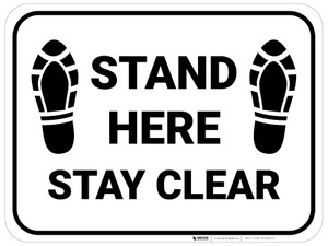 Stand Here Stay Clear Shoe Prints Rectangle - Floor Sign