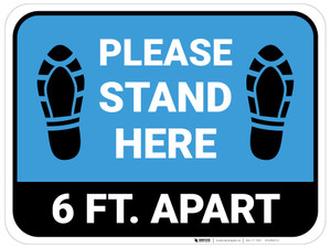 Please Stand Here 6 Ft. Apart Shoe Prints Blue Rectangle - Floor Sign