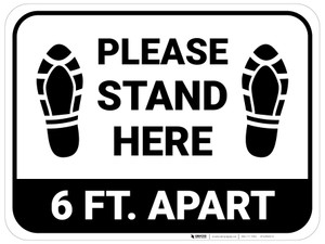 Please Stand Here 6 Ft. Apart Shoe Prints Rectangle - Floor Sign
