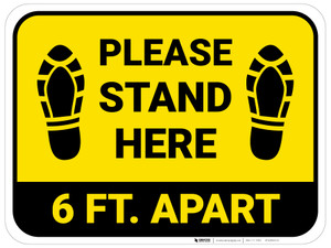 Please Stand Here 6 Ft. Apart Shoe Prints Yellow Rectangle - Floor Sign