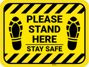Please Stand Here Stay Safe Shoe Prints Hazard Stripes Rectangle - Floor Sign