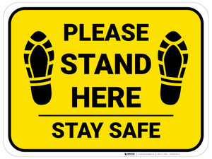 Please Stand Here Stay Safe Shoe Prints Yellow Rectangle - Floor Sign
