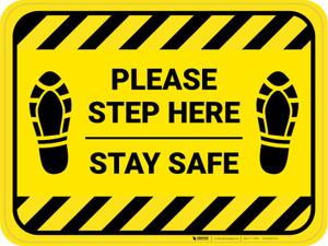 Please Step Here Stay Safe Shoe Prints Hazard Stripes Rectangle - Floor Sign