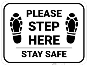 Please Step Here Stay Safe Shoe Prints Rectangle - Floor Sign