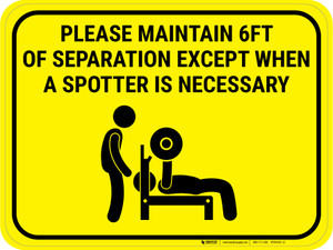 Please Maintain Safe Distance Except When Spotter Necessary Yellow - Rectangular - Floor Sign