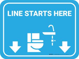Line Starts Here Bathroom Icon Rectangle - Floor Sign