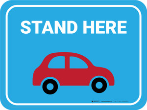 Stand Here Pick Up Icon Rectangle - Floor Sign