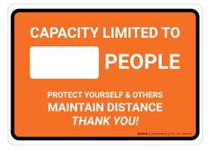 Capacity Limited Maintain Distance Orange Landscape - Floor Sign
