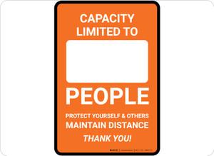 Capacity Limited Maintain Distance Orange Portrait - Floor Sign