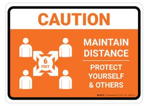Caution Maintain Distance with Icon Orange Landscape - Floor Sign