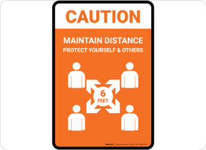 Caution Maintain Distance with Icon Orange Portrait - Floor Sign