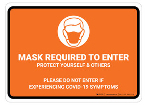 Mask Required To Enter COVID-19 with Icon Orange Landscape - Floor Sign
