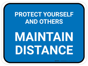 Protect Yourself And Others Maintain Distance Blue Rectangle - Floor Sign