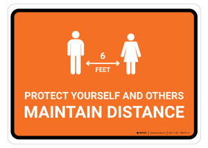 Protect Yourself And Others Maintain Distance with Icon Orange Landscape - Floor Sign