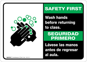 Safety First: Wash Hands Before Returning To Class Bilingual with Icon Landscape - Wall Sign