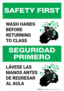 Safety First: Wash Hands Before Returning To Class Bilingual with Icon Portrait - Wall Sign