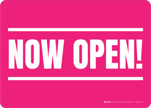 Now Open! Pink/White Landscape - Wall Sign