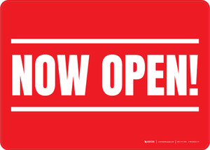 Now Open! Red/White Landscape - Wall Sign