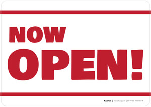 Now Open! White/Red Landscape - Wall Sign