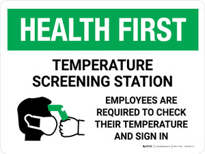Health First: Temperature Screening Station with Icon Landscape - Wall Sign