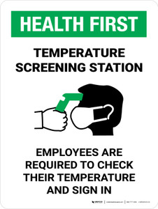 Health First: Temperature Screening Station with Icon Portrait - Wall Sign