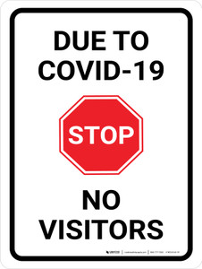 Stop Due To COVID-19 No Visitors with Icon Portrait - Wall Sign
