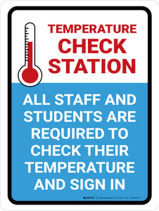 Temperature Check Station Students with Icon Portrait - Wall Sign