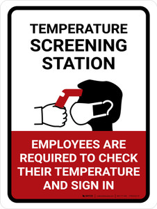 Temperature Screening Station Portrait - Wall Sign