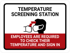 Temperature Screening Station with Icon Landscape - Wall Sign
