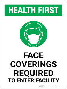 Health First: Face Coverings Required with Icon Portrait - Wall Sign