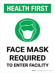 Health First: Face Mask Required with Icon Portrait - Wall Sign