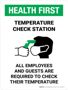 Health First: Temperature Check Station with Icon Portrait - Wall Sign