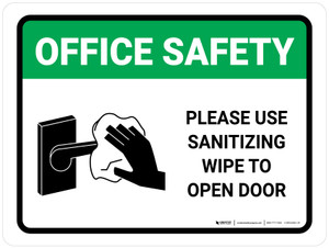 Office Safety Please Use Sanitizing Wipe To Open Door with Icon Landscape - Wall Sign