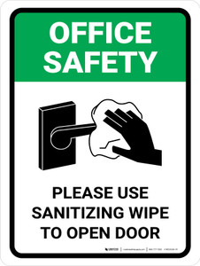 Office Safety Please Use Sanitizing Wipe To Open Door with Icon Portrait - Wall Sign