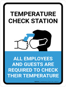 Temperature Check Station Employees And Guests with Icon Portrait - Wall Sign