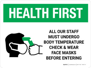 Health First: All Staff Must Undergo Temperature Check with Icon Landscape - Wall Sign