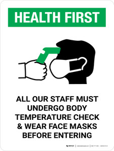 Health First: All Staff Must Undergo Temperature Check with Icon Portrait - Wall Sign