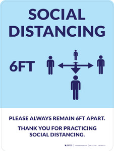 Social Distancing 6Ft with Icon Blue Portrait - Wall Sign