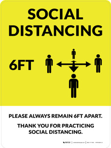 Social Distancing 6Ft with Icon Yellow Portrait - Wall Sign