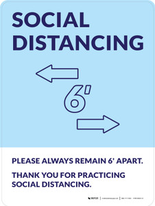 Social Distancing Please Always Remain 6' Apart with Icon Blue Portrait - Wall Sign