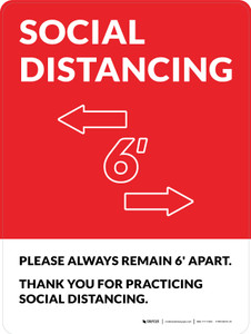 Social Distancing Please Always Remain 6' Apart with Icon Red Portrait - Wall Sign