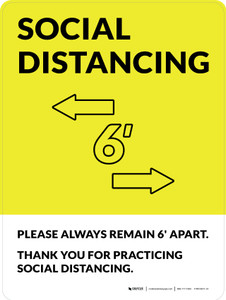 Social Distancing Please Always Remain 6' Apart with Icon Yellow Portrait - Wall Sign