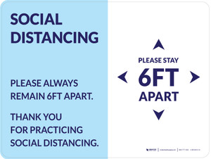 Social Distancing Please Stay 6Ft Apart Blue Landscape - Wall Sign