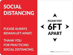 Social Distancing Please Stay 6Ft Apart Red Landscape - Wall Sign